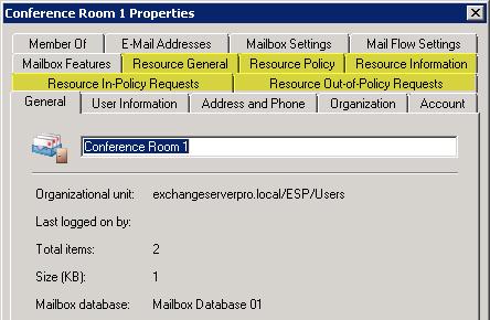 Exchange Server 2010 Room Mailbox Properties