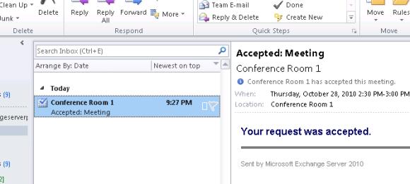 Exchange Server 2010 Room Mailbox Auto-Acceptance Message