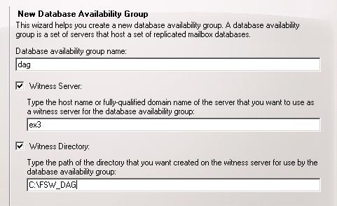 New Database Availability Group Wizard - Basic Info