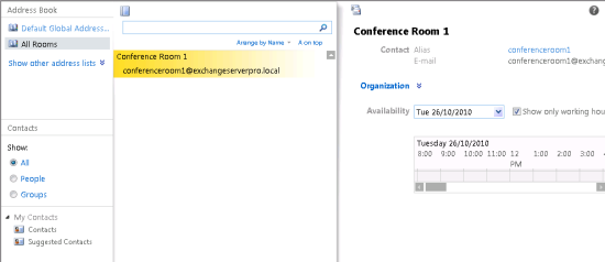 Exchange Server 2010 Room Mailbox Address List