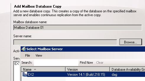 Add Mailbox Database Copies to an Exchange Server 2010 Mailbox Server