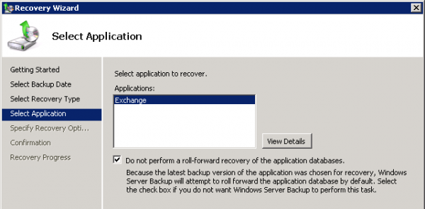 Select Exchange as the application to recover