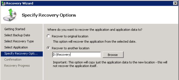 Select Recover to Another Location