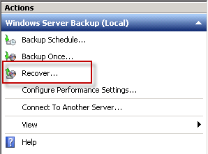 Launch the Windows Server Backup Recovery Wizard
