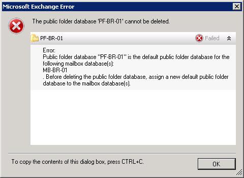 The public folder database cannot be deleted