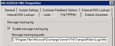 Enabling/disabling message tracking logs