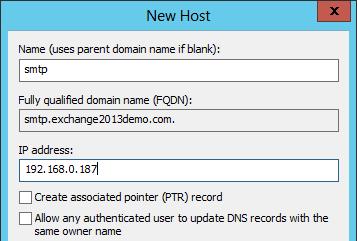 Adding a DNS alias for Exchange 2013 SMTP relay