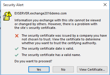 Example of an Outlook certificate warning