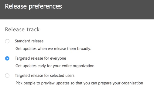 First Steps: Configure Office 365 Release Settings