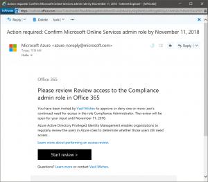 Access review 'start review' screenshot