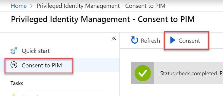 Privileged Identity Management consent screenshot