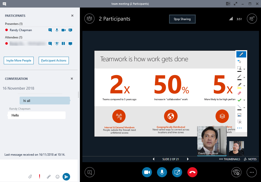 Skype for Business vs Teams screenshot of meetings