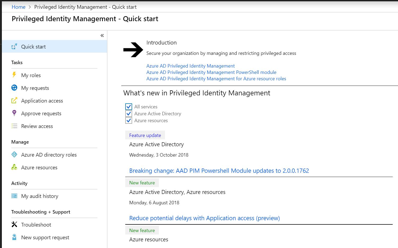Privileged Identity Management - Quick start