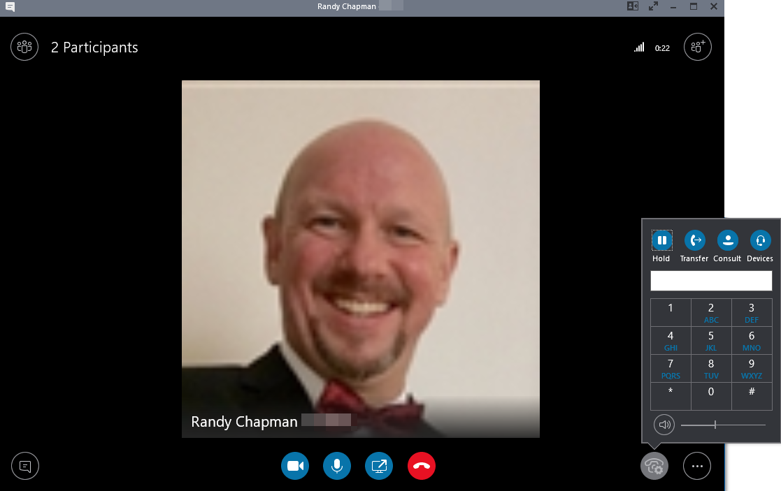 Skype for Business vs Teams screenshot of Randy Chapman