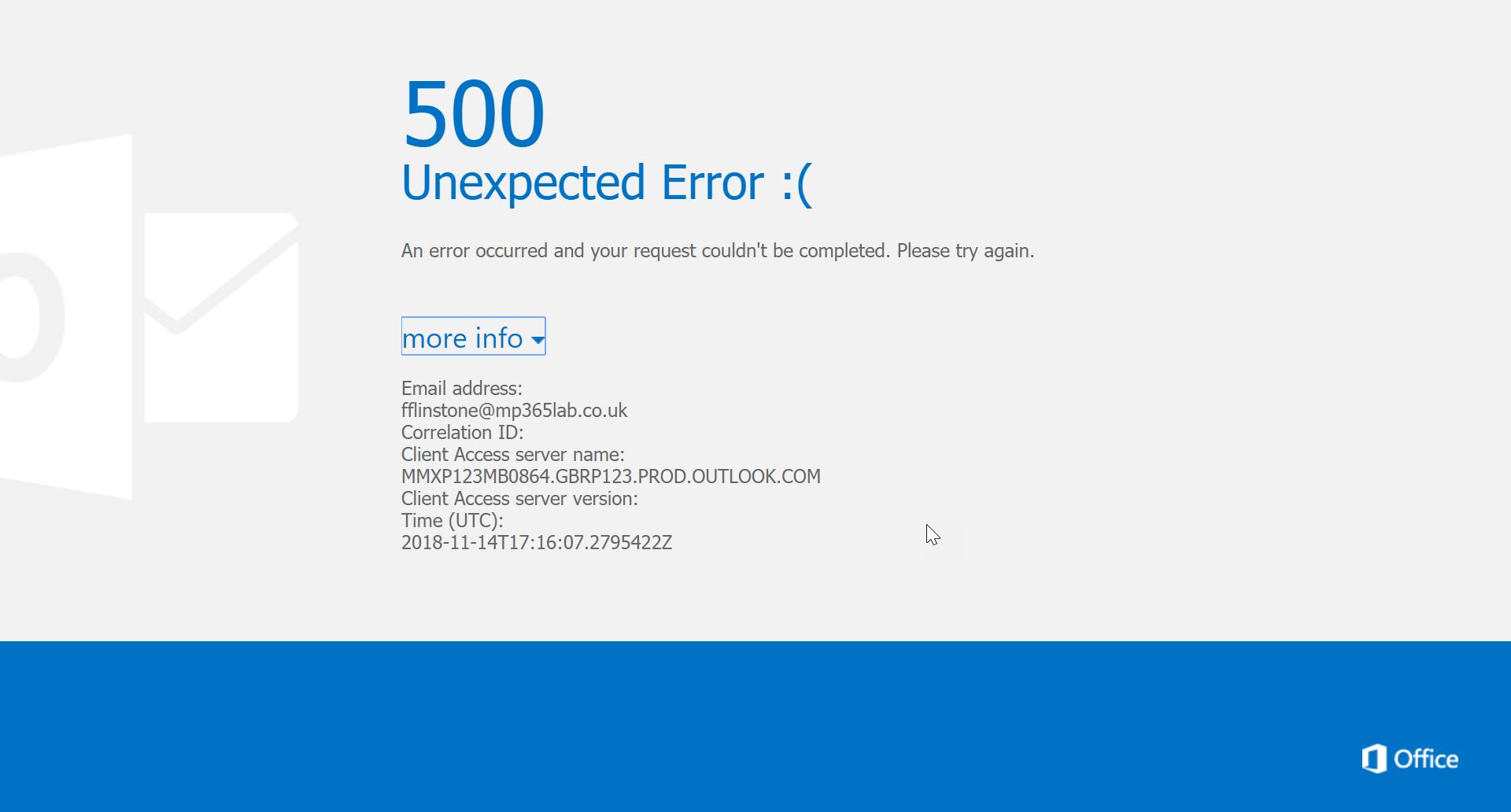 500 unexpected error screenshot