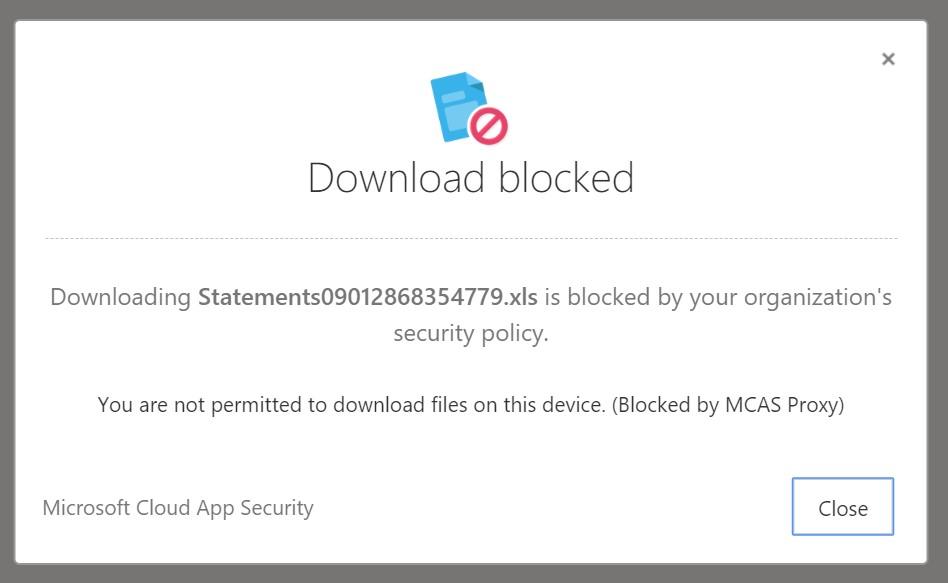 Download blocked notification.
