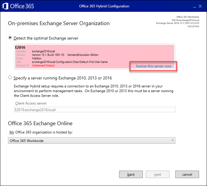 How to license Exchange Hybrid servers