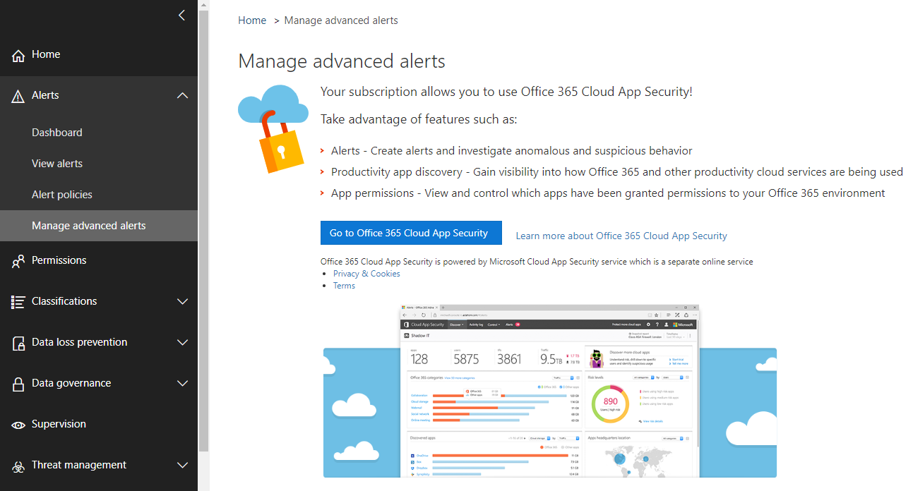 Manage advanced alerts