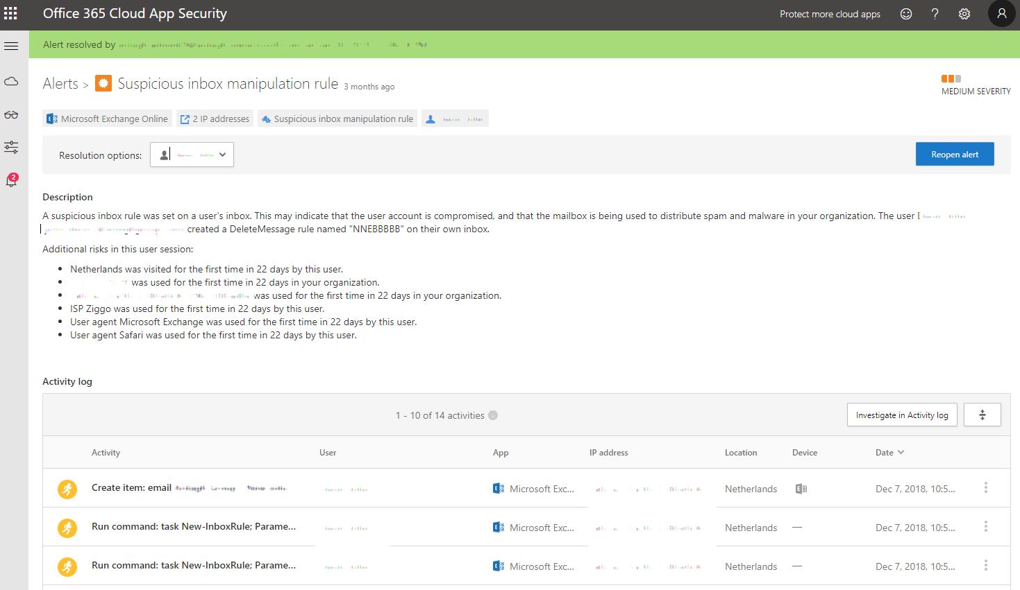Office 365 Cloud App Security alert