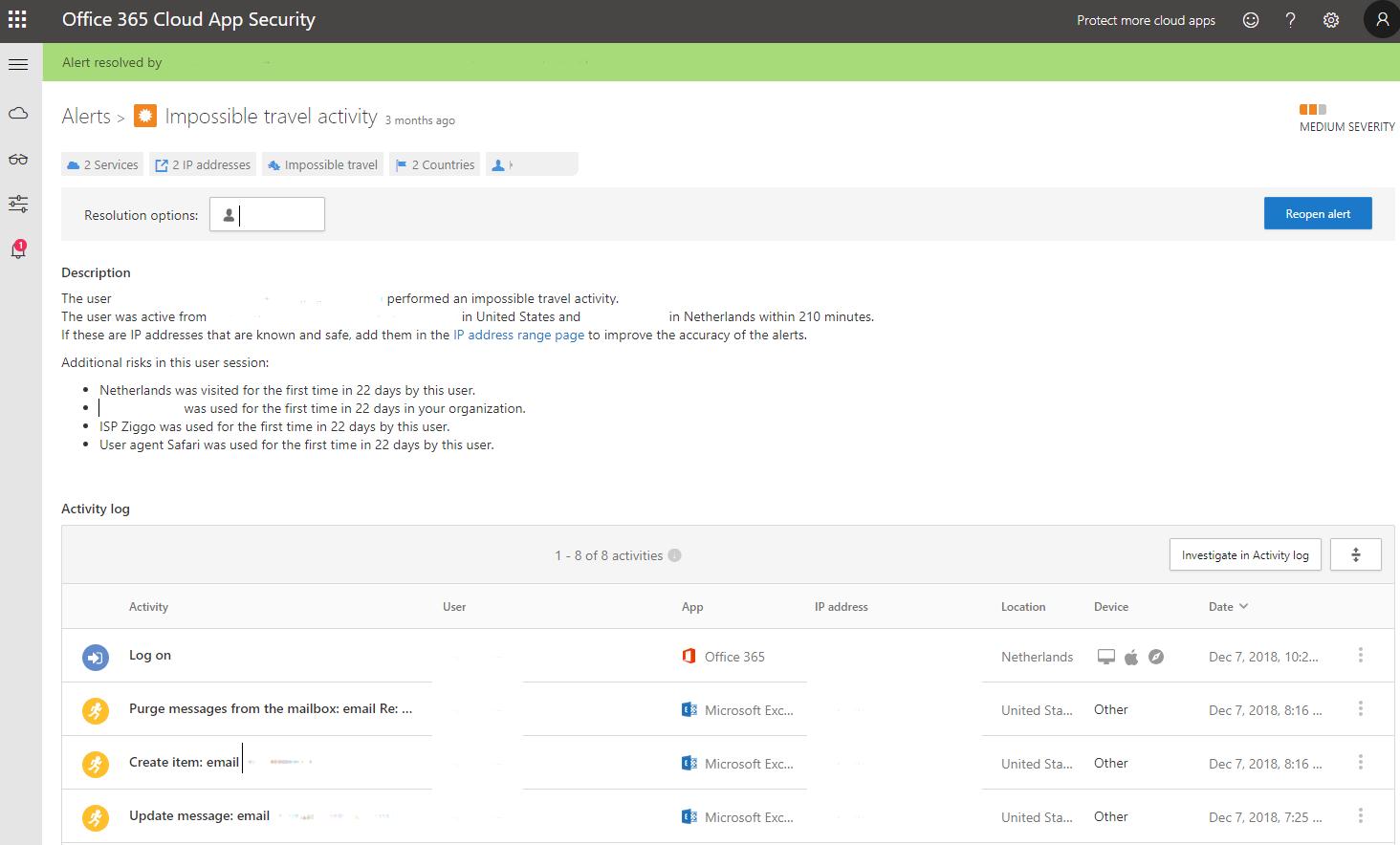 Offic e365 Cloud App Security Alerts