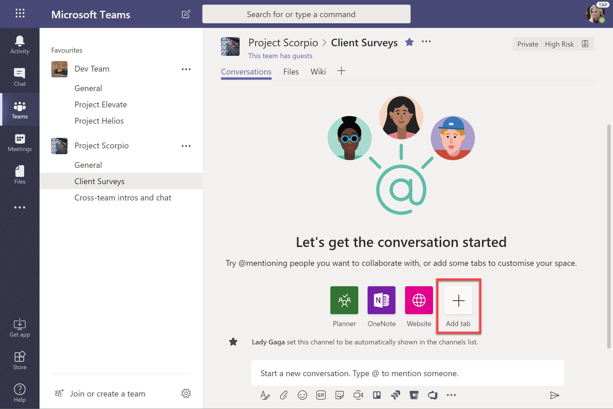 Add tab to create new Microsoft Form