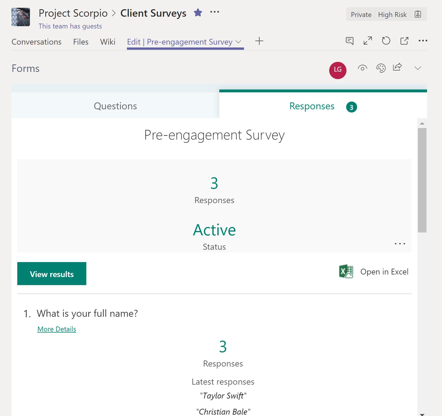 Pre-engagement survey responses on Microsoft Teams