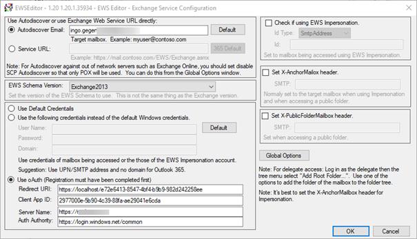 Access mailbox via EWS Editor using OAuth