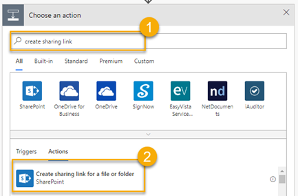 Choose an action e.g. create sharing link