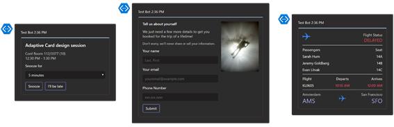 Microsoft Teams adaptive cards screenshot