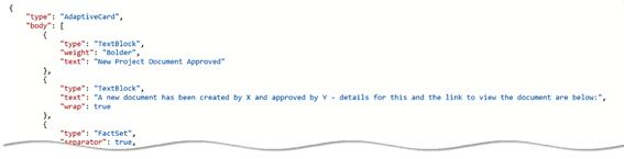 Example adaptive card JSON