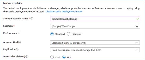Instance details for Azure CDN Profile