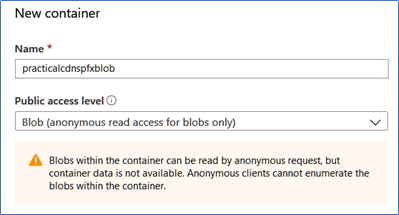 New container for Blob for Azure CDN