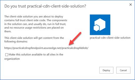 Message shown when upload file to Azure CDN