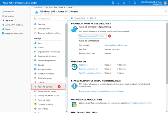 Azure AD Connect - Manage Provisioning (Preview)