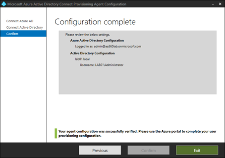 Configuration of Azure AD Connect complete