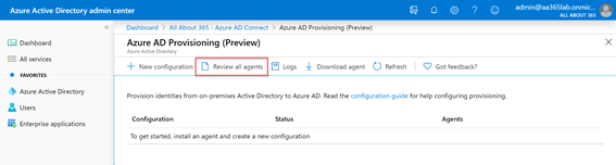 Azure AD Provisioning (Preview) Review all agents