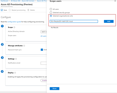 Azure AD Provisioning (Preview) Add selected organizational units