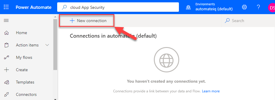 PA New Connection in PowerAutomate
