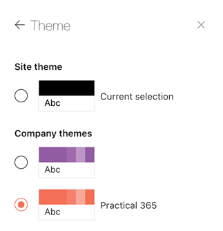 SharePoint Online intranet theme