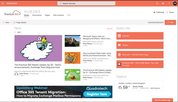 Creating a modern SharePoint Online Intranet – Part Three