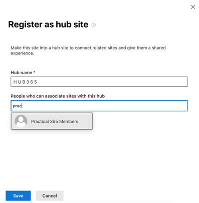 Register as a hub site