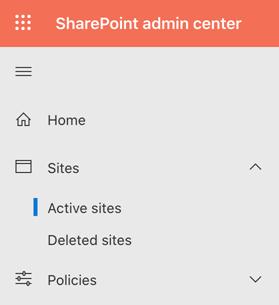 SharePoint Admin Center screenshot
