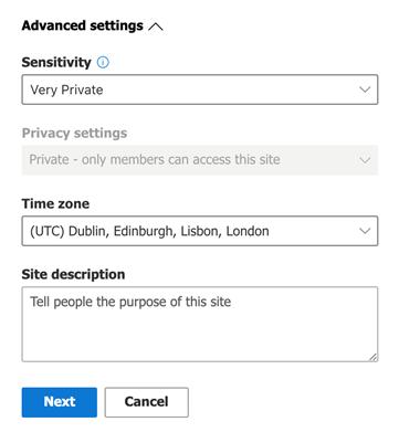 Team site advanced settings