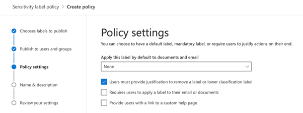 Policy settings