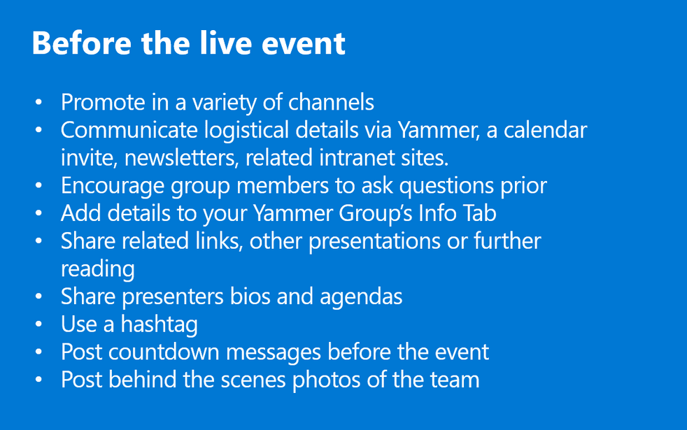 Playbook for Live Events