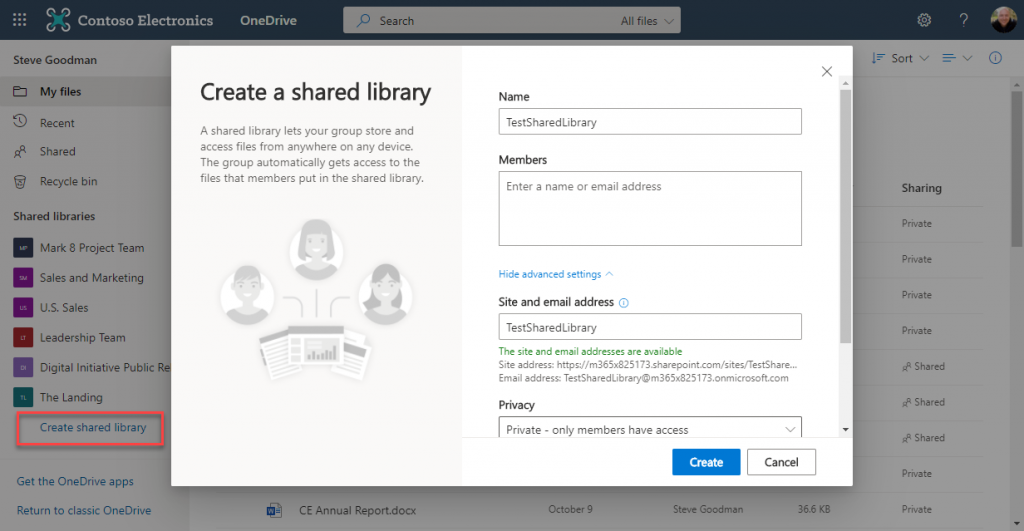 """Option to """"Create shared library"""" appears in OneDrive"""