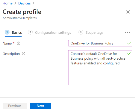 Create new Intune configuration create profile