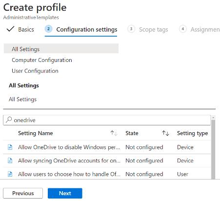 Create new Intune profile configuration profile settings