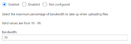 Limit the sync app upload rate to a percentage of throughput for configuration profile