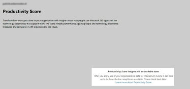 Productivity score dashboard